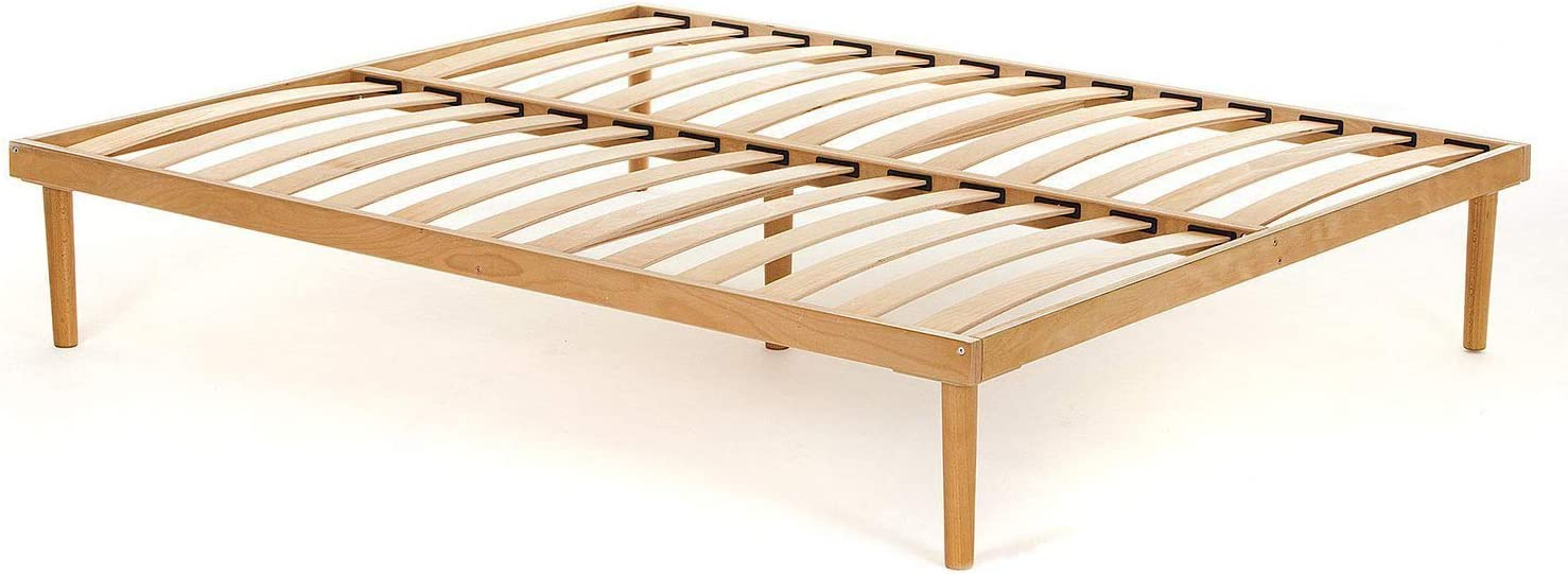 Materassimemory.eu - Somier para cama de matrimonio, completamente de madera de haya de primera calidad con láminas de haya natural