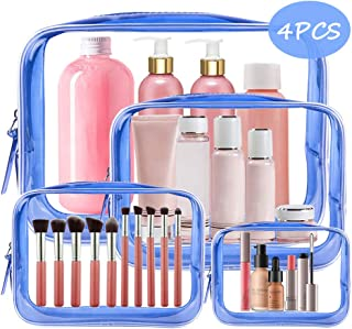 4PCS Clear Makeup Bag, TSA Approved Transparent Travel Toiletry Bag, Waterproof PVC Cosmetic Pouch Organizer, Quart Size Durable Zipper Wash Bags Carry-on Luggage for Women Men Vacation Bathroom