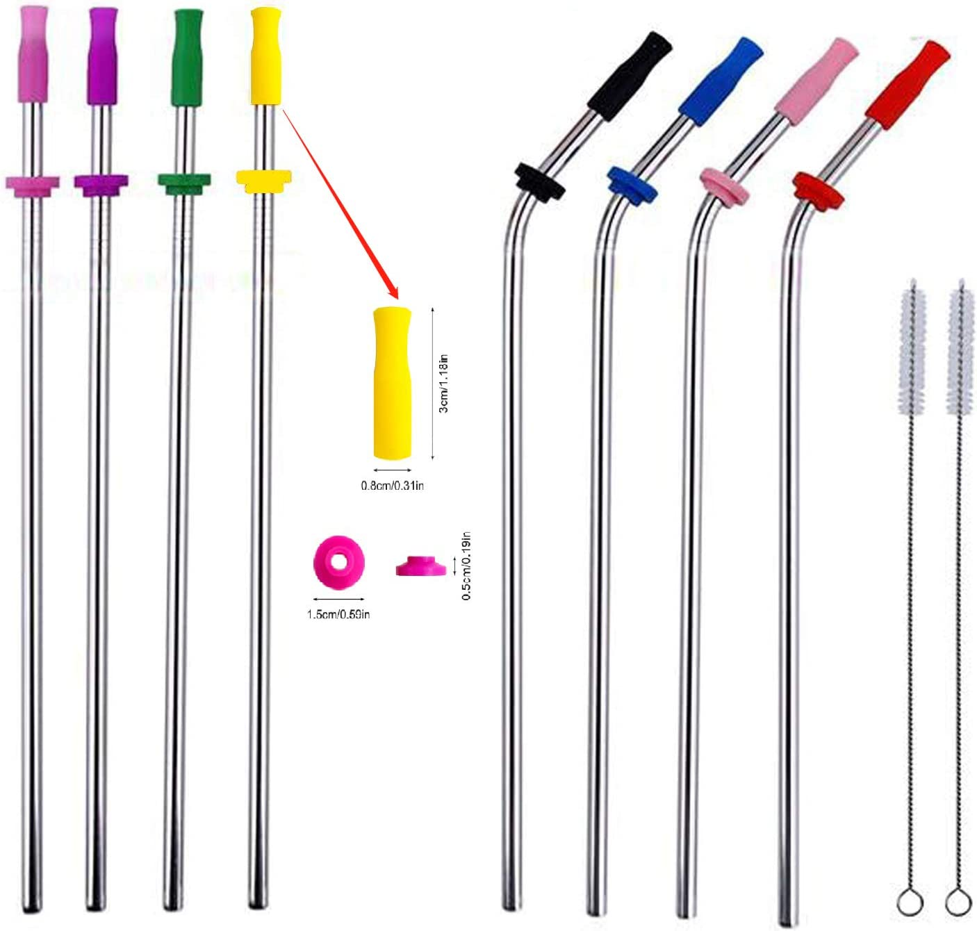 10pcs Reusable Metal Stainless Steel Straws 10.5'' with Silicone Tips & Buckle drinking straw for 20-40 Oz RamblersTumblers Rumblers Cold Beverage, Ultra Long(10.5 inch)