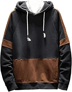 Mens Hoodies Pullover,Men's Fashion Hoodie Color Block Pullover Hooded Sweatshirt Outwear Hoodies with Kanga Pocket