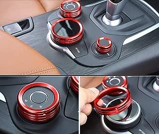 Yuwaton Fit for Alfa Romeo Giulia Stelvio Interior Accessories Car Interior Trim Multimedia Knob Cover (red)