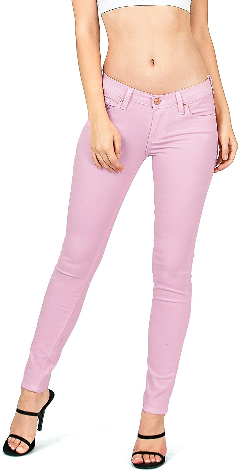 Angry Rabbit by Pink Ice Women's Juniors Mid Waist Skinny colord Jeans