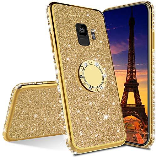 QIWEIQING Compatible Samsung Galaxy S7 Edge Funda Ultra-Slim Glitter Bling Shiny Giratorio Soporte Funda Protectora a Prueba de Golpes Cubierta del teléfono Celular para Galaxy S7 Edge Golden KDL