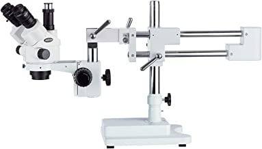 AmScope 7X-45X Simul-Focal Stereo Lockable Zoom Microscope on Dual Arm Boom Stand