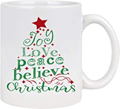 Christmas Theme Coffee Mug with Joy Love Peace Believe Merry Christmas Tree White Ceramic Coffee Cup Christmas Gifts for Friends Family 11 Ounce