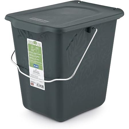 Rotho Greenline Bac à compost de 7l avec couvercle et poignée pour la cuisine, Plastique (PP) sans BPA, vert, 7l (26.0 x 20.8 x 25.0 cm)