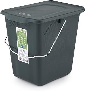 Rotho Greenline Bac à Compost de 7 l avec Couvercle et Poignée pour la Cuisine, Plastique (PP) sans BPA, Vert, 7 l (26,0 X...