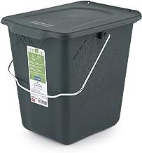 Rotho Pojemnik na kompostownik Greenline 7 l w kolorze zielonym, plastik, ciemnozielony, duży (7 l)