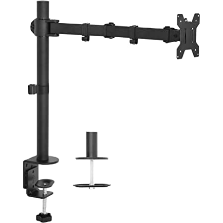 VIVO Single 13 to 27 inch LCD Monitor Desk Mount Stand, Fully Adjustable, Tilt, Articulating / Holds 1 Screen STAND-V001