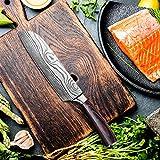 Santokumesser 7 zoll, Japanisch Sushi Messer, Kochmesser Küchenmesser deutschem Messerstahl mit ergonomischem Griff mit Geschenkbox für Haus, Restaurant - 2