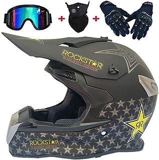 Cross-Helm Motorradfahren Enduro ATV BMX Quad Motorr/äder-Helm f/ür M/änner Damens LEENY Motocross-Helm Herren Motorrad Off-Road-Helm mit Brille//Maske//Handschuhe//Sicherheitsschloss