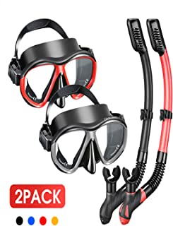 OMORC Snorkel Kit,[1/2 Pack] Anti Leak Dry Snorkel Set for Adult Youth,Anti-Fog Tempered Glass Snorkel Gear for Snorkeling,Swimming and Scuba Diving,Free Breathing&Easy Adjustable Strap Snorkel Set