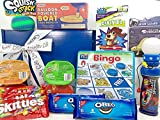 Kid Happiness Gift Box Basket Boy Girl Grandkid - Bundle of 15 Items - Spinner, Boat, Ball, Dinosaur, Cookies, Candies, Chips, Card Game, Bingo - Birthday Thinking of You Christmas Easter Get Well