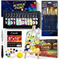 ESRICH Acrylic Paint Set,Professional Painting Supplies with Acrylic Paint,Canvas Panels,Paint Brushes,Paint Knife,Sponge,Plastic Palette and Wooden Easel for Adults,Kids and Artists.