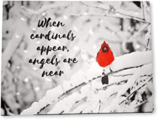 BANBERRY DESIGNS When Cardinals Appear Angels are Near - Memorial LED Lighted Canvas Print with Red Cardinal in Snowy Winter Scene