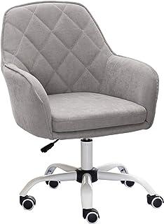 Silla de oficina ergonómica giratoria Silla giratoria gris, muebles de oficina en casa, silla de escritorio para computadora, altura ajustable, silla giratoria de 360 ° para sala de estar, dormito