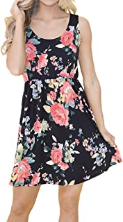 VESKRE Women's Summer Casual Sleeveless Mini Dress Floral Print High Waist Draped Vest Tank Tops