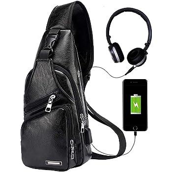 Men's Leather Sling Bag Chest Shoulder Backpack Crossbody Bag with USB Charging Port for Travel, Hiking ,Cycling
