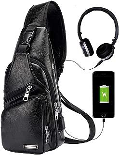 Men's Leather Sling Bag Chest Shoulder Backpack Crossbody Bag with USB Charging Port for Travel, Hiking,Cycling