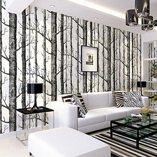 Tapete Birke, Birch Forest Wallpaper Fototapete Birkenwald Vliestapete 3D Wood Tapete Wandtapete Schlafzimmer Baum Moderne Dekoration 0.53m*9.5m (Tapete Birke)