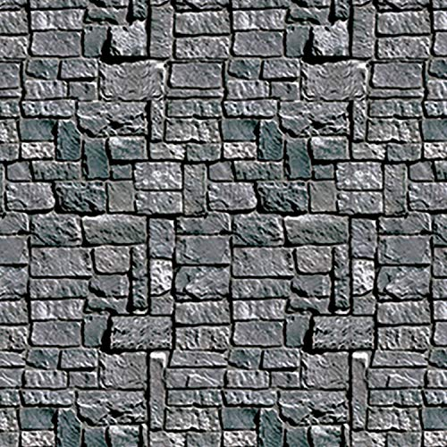 Beistle Brick Stone Wall Photography Backdrop Textured Look Photo Op Background For Weddings - Halloween Party Decorations, 4' x 30', Gray/Black