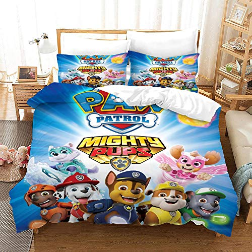 3D Duvet Covers Double Children Cartoon Team Dog Microfiber Quilt Cover Bedding Set With Pillocases 78.7 X 78.7 inch 3 Pcs Bedding Set