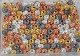 Mixed Gold Silver Copper Black Oxide Plated Brass Stardust Beads 4mm Package of 140 Metal Spacer in Easy Storage Box