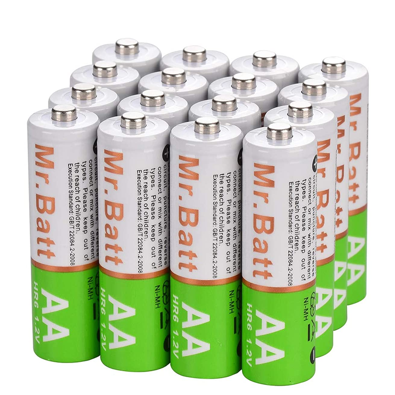Mr.Batt NiMH Rechargeable AA Batteries Pre-Charged, 1600mA (16 Pack)