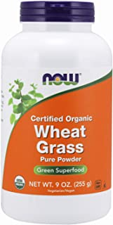 NOW Supplements, Certified Organic and Non-GMO, Wheat Grass Powder, Green Superfood, 9-Ounce