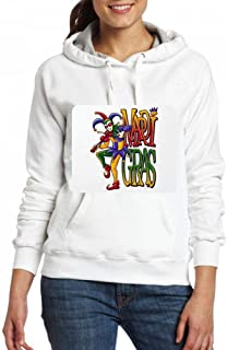 フィドルとマルディグラジョーカー Women Pocket Hoodie Sweater レディーズ トップス パーカー アクティブウェア