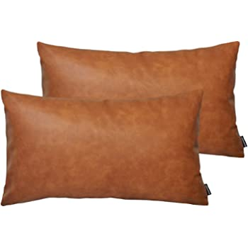 HOMFINER Faux Leather Lumbar Throw Pillow Covers for Couch Bed Sofa Decorative, 12x20 Set of 2 Thick Modern Farmhouse Boho Small Long Accent Rectangle Scandinavian Decor Cushion Cases Cognac Brown