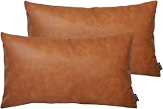 HOMFINER Faux Leather Lumbar Pillow Covers for Couch, Set of 2, 12x20 inch Thick Modern Solid Decorative Bed Sofa Bedroom Rectangular Long Throw Pillow Cushion Cases