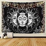 LOMOHOO Tapisserie de Tarot Soleil et Lune Tapisserie psychédélique Noir Céleste Tenture Tapisseries murales Hippie Bohémien Mandala Indien (A-Sun and Moon, L/148cmx200cm)