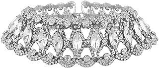 GUYUEXING Rhinestone Choker Necklace, Diamond Sexy Layered Chokers for Women Girls