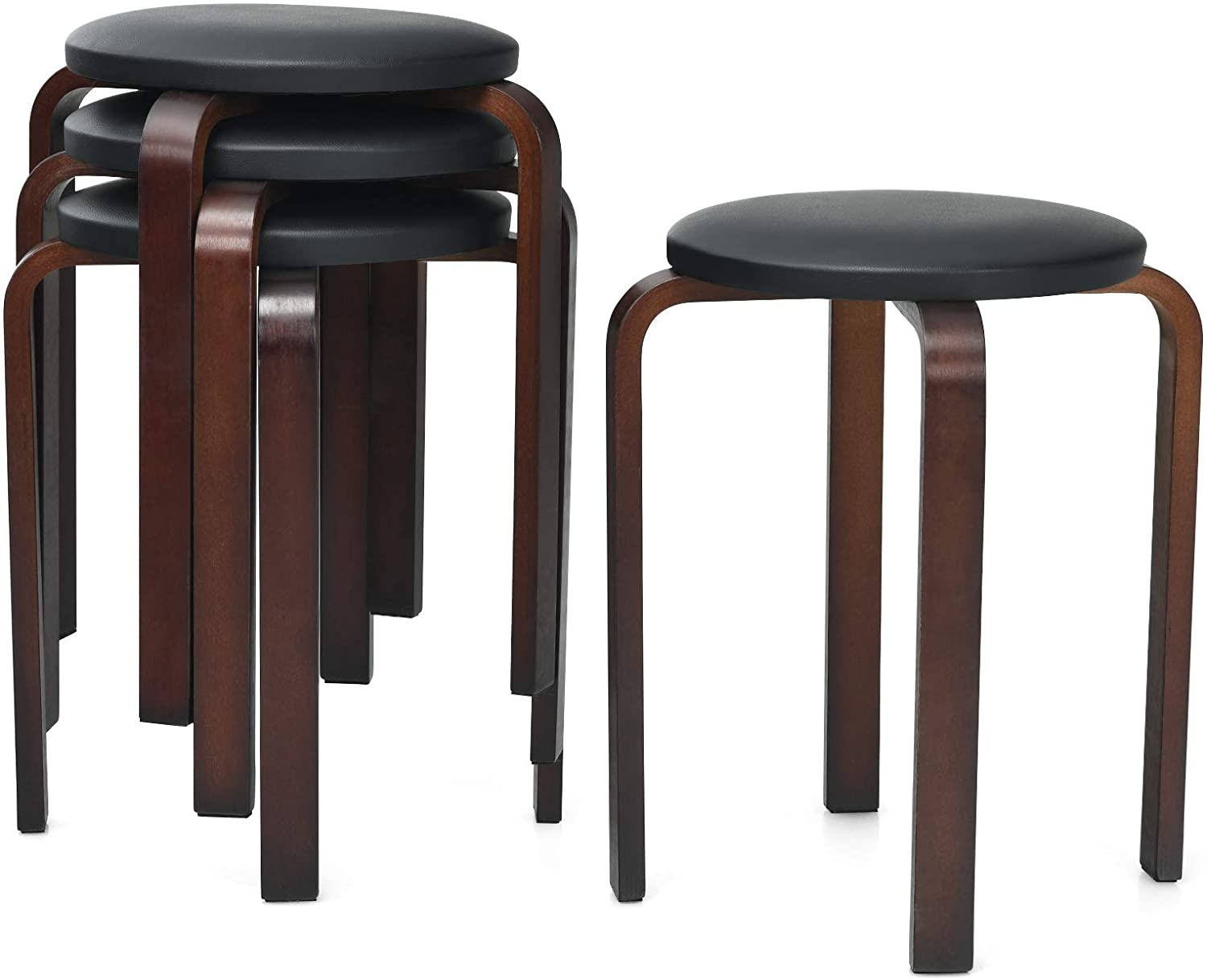 COSTWAY 18.5-inch Bentwood Stools, Set of 4 Backless Round Stools with Cushioned Seat, Non-Slip Foot Mats, Stackable Counter Stools for Dining, Kitchen, Living and Class Room (Black)
