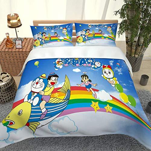 Juego de Funda nórdica 200x200cm Doraemon Juego de Ropa de Cama 3 Piezas Cierre de Cremallera Y 2 Fundas de Almohada 50x75cm Fibra superfina Suave