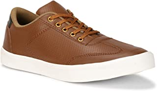 Emosis Men's Sneakers - Synthetic Leather Lace-Up Casual Shoe - for Formal Office Daily Use - Available in Tan Black Brown Colour - 0445M