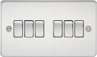 Knightsbridge FPAV4200PC 10 A 6-Gang Flat Plate 2-Way Switch - Polished Chrome