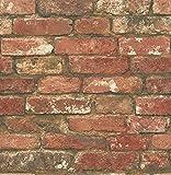 NuWallpaper NU2214 Brick Peel & Stick Wallpaper, Red