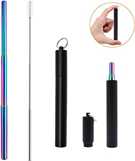 Collapsible Straw Telescopic Straw Metal Reusable Straws with Case Keychain Portable Personal Stainless Steel Rainbow Straws Retractable Foldable Telescoping Colorful Drinking Straw with Brush Black