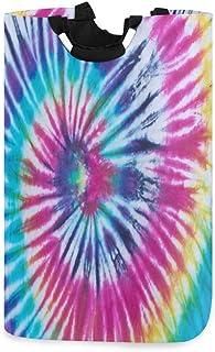 Spirale Tie Dye Panier À Linge Panier Seau Violet Bleu Jaune Arc-en-ciel Pliable Sac À Vêtements Sale Poubelle À Lavage Jo...