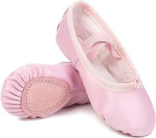 Nexete Leather Shoes Split-Sole Slipper Flats Ballet Dance Shoes for Toddler Girl Boy Kid