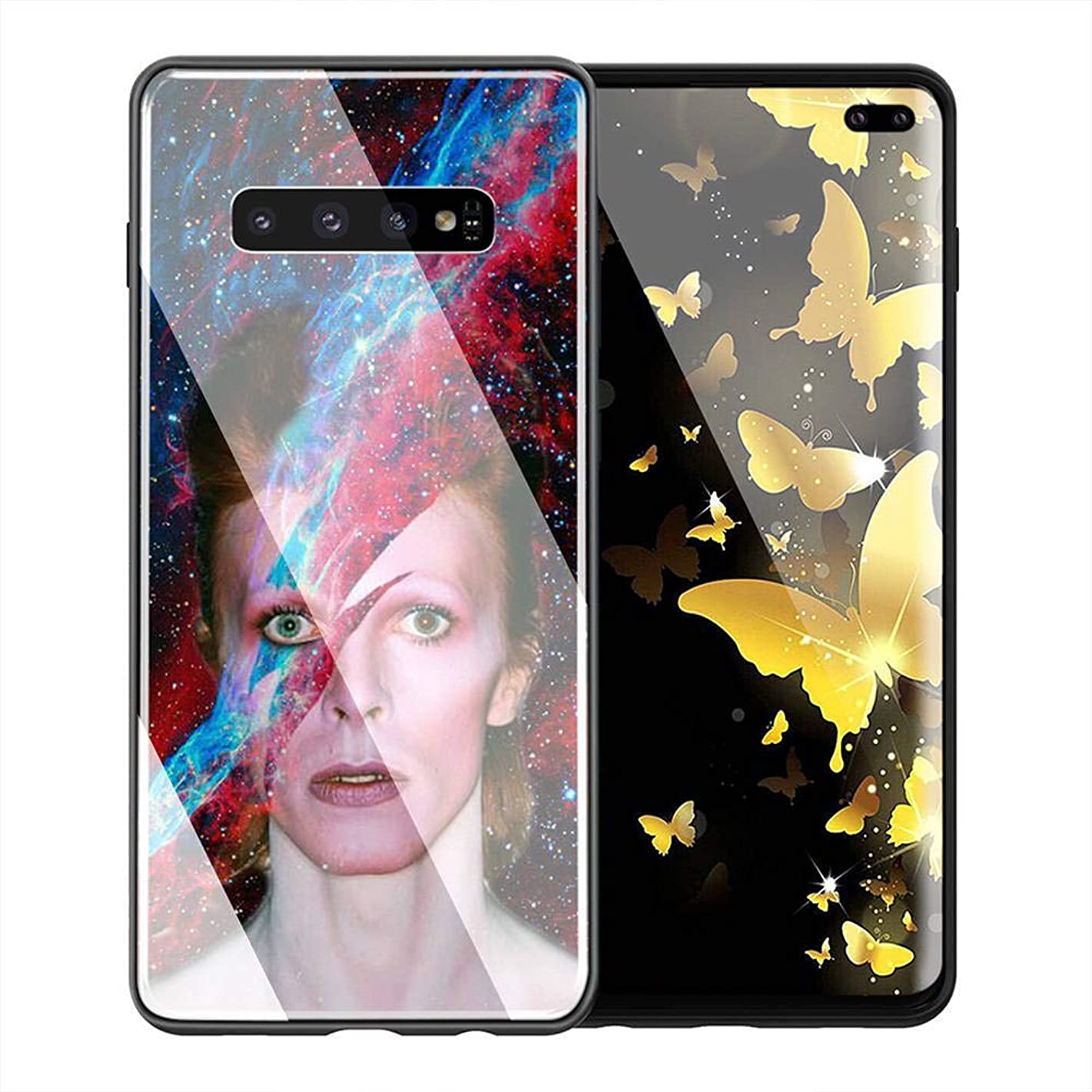 Samsung Galaxy S9 Case, Tempered Glass Back Cover Soft Silicone Bumper Compatible with Samsung Galaxy S9 AMB-14 David Bowie