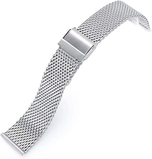 22mm Classic Vintage Tapered Milanese Wire Mesh Band, Brushed