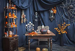 GoEoo 9x6ft Frightening Halloween Photo Backdrop Cloth Magic Fantasy Witch's Room Interior Skeleton Decorations Witchcraft Photography Background Kids Party Wallpaper Photo Studio Props