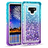 Wollony for Galaxy Note 9 Glitter Liquid Case for Women Girls Girly Heavy Duty Quicksand 3 in 1 Hybrid Shockproof Hard Bumper Soft Clear Rubber Protective Cover for Samsung Galaxy Note 9 Lake Purple
