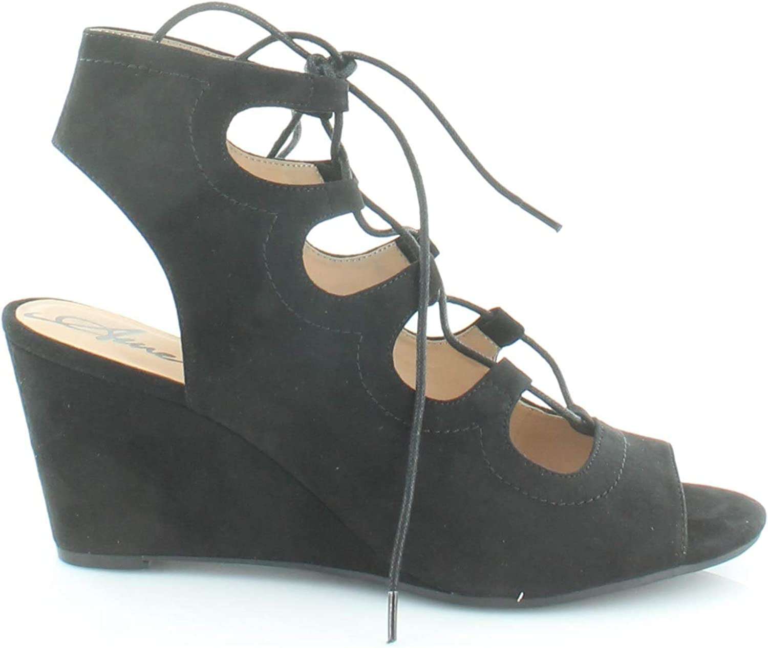 American Rag Womens Suriya Lace-Up Demi Wedge Toe Sandals Black 10 US