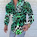 Camisa de Cuadros Mens Streetwear Beach Shirts Summer VacationHawaiana Printed Long Sleeve Button Down Party Casual Shirts for Men L YHCS-29