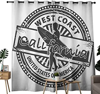 LewisColeridge Blackout Curtain Panels Window Draperies Ride The Wave,West Coast California United States of America Grunge Vintage Stamp Print,Grey White,for Bedroom, Kitchen, Living Room 54