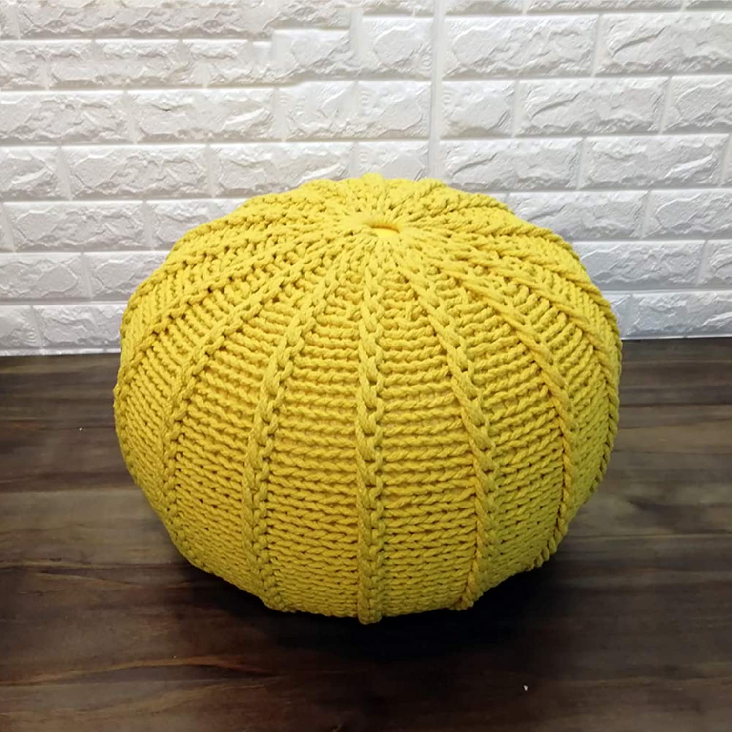 Knitted Large Round Pouffe Footstool Mgoldccan Chunky Braid Contemporary Living Room Cushion Seat (50Cm),Yellow